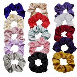 15-pack enfärgade scrunchies i konstgjort silke