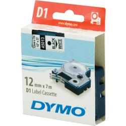 DYMO D1 märktejp standard 12mm, svart på vitt, 7m rulle