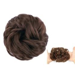 Scrunchie med syntetiskt hår - Mörkbrun