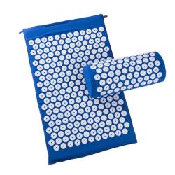 Spikmatta med kudde för massage och avslappning Blå