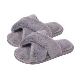 Fluffiga slippers för inomhusbruk Grå (40-41)