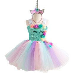 Klänning med tyllkjol och diadem - Blå topp, 10-12 år