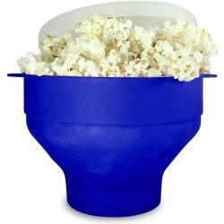 Popcornskål silikon hopfällbar Blå