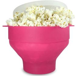 Popcornskål silikon hopfällbar Rosa