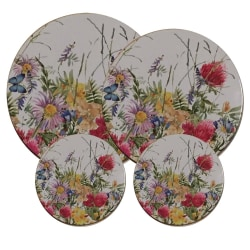 Spislock 4 st i shabby chic stil vilda blommor multifärg