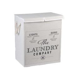Läcker vit dubbel hopfällbar tvättkorg i shabby chic stil Vit