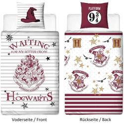 135 x 200 cm 80 x 80 cm 100% bomullslinne Hogwarts Vändbar