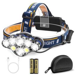 laddningsbar LED-huvudficklampa superljus med 8 lägen pannlampa