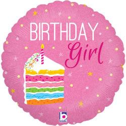 Betallic Birthday Girl Cake Folie Ballong En Storlek Rosa Pink One Size