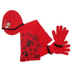 Angry Birds Barnpojkar Stickad vinterhatt, handskar och halsduk Red 3-5 Years