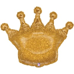 Betallisk glittrande kronformad folieballong en storlek guld Gold One Size