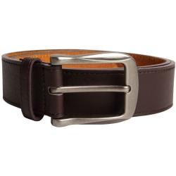 Duke Mens Harrison Large Buckle Leather Belt 36 Brown Brown 36