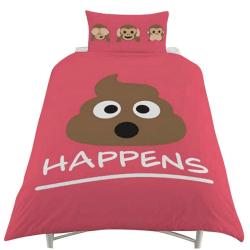 Emoji Vändbar påslakansats enkel rosa Pink Single