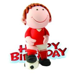 Kreativ fotbollsspelare Design Födelsedagsfest Cake Topper One S Red One Size