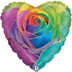Betallic Holographic Rose Heart Folie Balloon One Size Rainbow Rainbow One Size