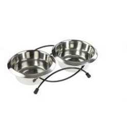 Caldex Classic Twin Feed Dishes One Size Silver Silver One Size