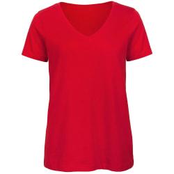 B&C T-shirt med v-ringning i ekologisk bomull, dam/dam, XL röd Red XL