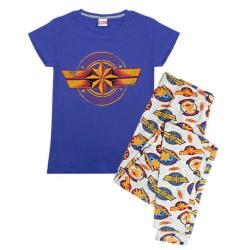 Captain Marvel Womens/Ladies Logo Printed Pyjama Set S Blue Blue S