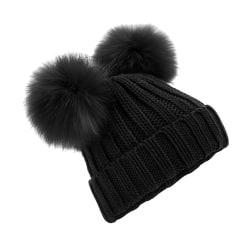 Beechfield Dam / Dam Faux Fur Dubbel Pop Pom Mössa One Size Black One Size