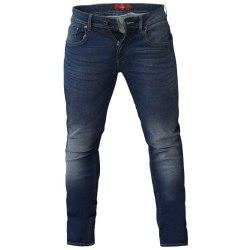 Duke Mens Ambrose Stretch Tapered Jeans 44XL Mörkblå Stonewash Dark Blue Stonewash 44XL