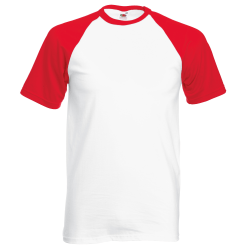 Fruit of the Loom Kortärmad basebolltröja för män M Vit röd White/Red M