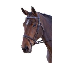 Blenheim Läder Polo Horse Browband Full Rosa / Natur / Marinblå Pink/Natural/Navy Full
