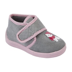 Sleepers Barnflickor Whiskers Touch Fastening Cat Bootee Tofflor Grey/Pink 9 UK Junior