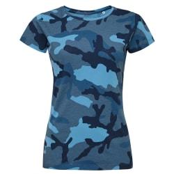 SOLS Damer / damer Camo kortärmad T-shirt XXL blå Camo Blue Camo XXL