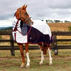 Weatherbeeta Breeze With Surcingle III Combo Neck Turnout Rug 5f White/Navy/Red 5ft 9in
