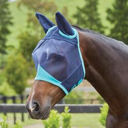 Weatherbeeta Comfitec Mask med öron liten ponny marinblå / T Navy/Turquoise Small Pony