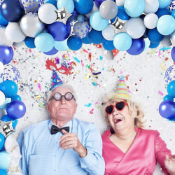100 blå och silver ballongbågar kit _ bröllopsfödelsedagsfest bule