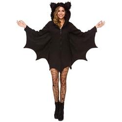 Halloween kostym dam Bat mysig svart djur vuxen cosplay klänning black M