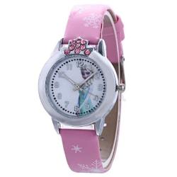 Elsa och Anna Frozen Style Glowing Snowflake Girl Watch- Pink
