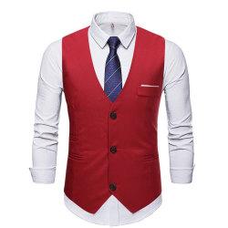 Herr smal kostym väst casual business tre knappar väst wine red L