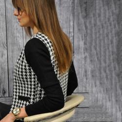 Kvinnor Houndstooth Cardigan Zip Slim Blazer Jacket Outwear Coat XL