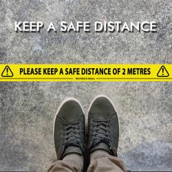 Pot it _ varningstejp _ påminner om säkerhetsavstånd för tejpen