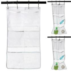 6 fack badrum dusch förvaringsväska mesh hängande väska