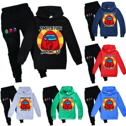 Kids Game Among Us Sweater Hoodie Byxor Träningssats Set trendigt black 130cm