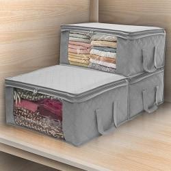 Fällbar förvaringspåse _ lämplig för förvaring av kläder / täcken _ Fä gray
