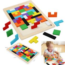 Trä Tetris Block Puzzle Montessori pedagogiskt leksaksspel