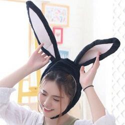 barnleksak _ Bunny Ears Hat _ bunny öron mobil plysch hatt flicka black