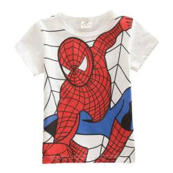 Boy Novelty Kortärmad T-shirt Spiderman Superman Costume Top white 120cm