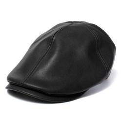 Newsboy cowboyhattar / läderkepsar / toppad motorhuv / barett för män Black