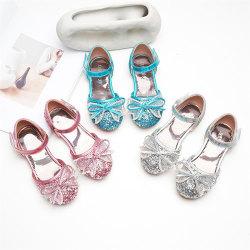 Flickor strass rosett sandaler platta paljetter söta prinsessor skor Pink 27