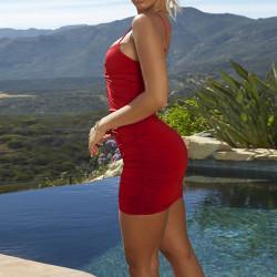 Europeisk och amerikansk sexig lågklippt djup V ärmlös klänning Wine Red M