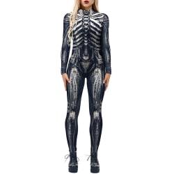 Kvinnors Halloween Skeleton Jumpsuit Tight Cosplay Costume Bodysuit B M