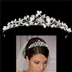 Mode bröllop pärla brudkrona handgjorda huvudbonader