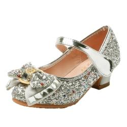 Flickor frysta tecknade skor högklackade prinsessan klänningskor Silver 29