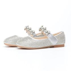 Flickor prinsessan visar skor, glänsande rhinestone kristall skor Silver 31