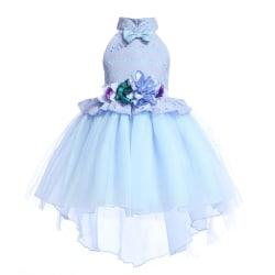 Flickors spets födelsedagsfest klänning, klänning för blommaflickor bule 140cm
